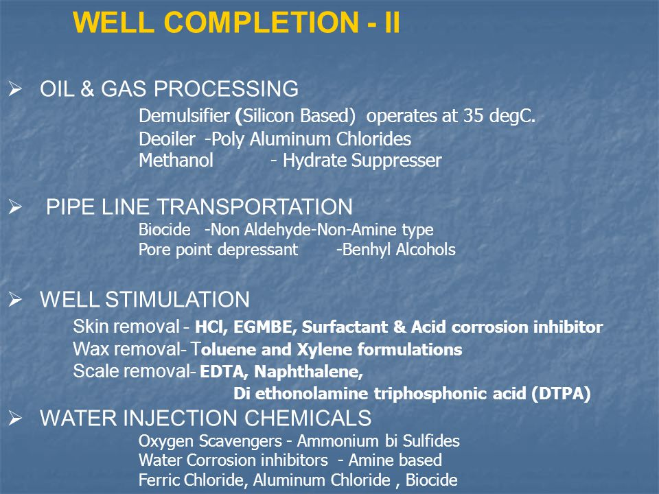 WELL COMPLETION - II OIL & GAS PROCESSING
