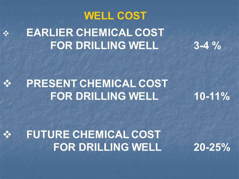 WELL COST FOR DRILLING WELL 3-4 % PRESENT CHEMICAL COST