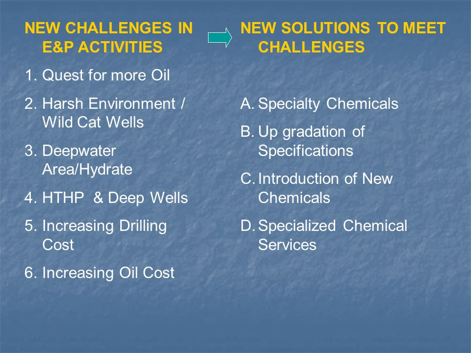 NEW CHALLENGES IN E&P ACTIVITIES