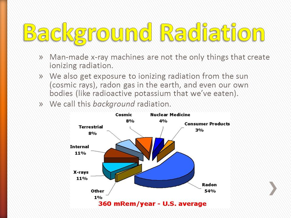 Background Radiation Man-made x-ray machines are not the only things that create ionizing radiation.