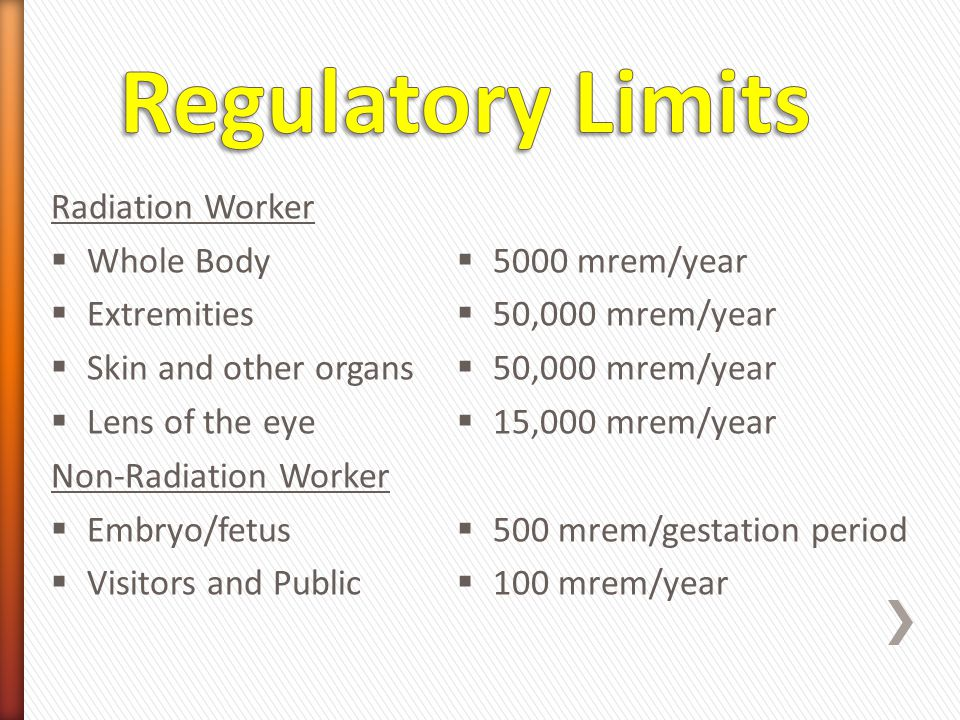 Regulatory Limits Radiation Worker Whole Body Extremities