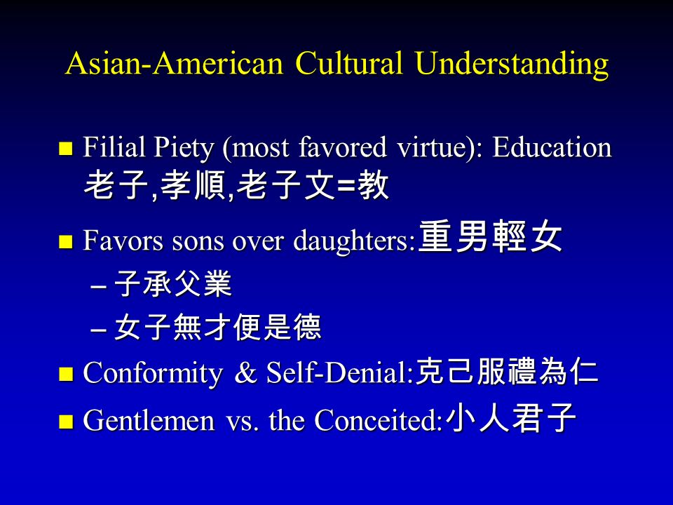 Asian-American Cultural Understanding
