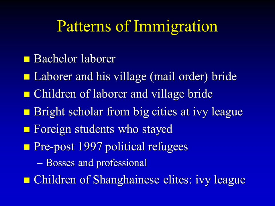 Patterns of Immigration