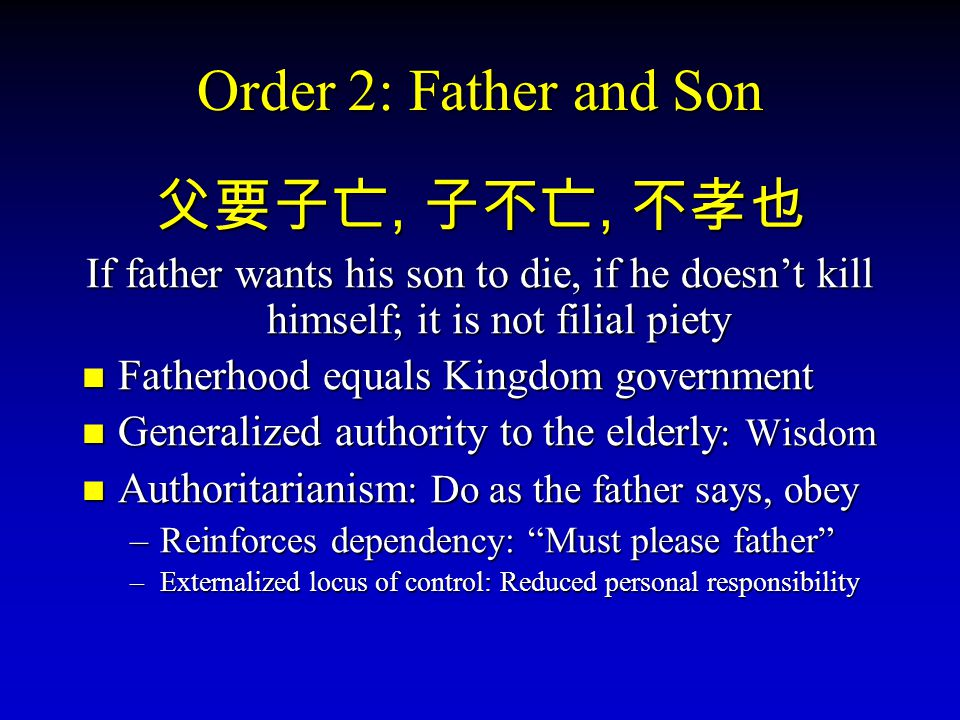 Order 2: Father and Son 父要子亡, 子不亡, 不孝也