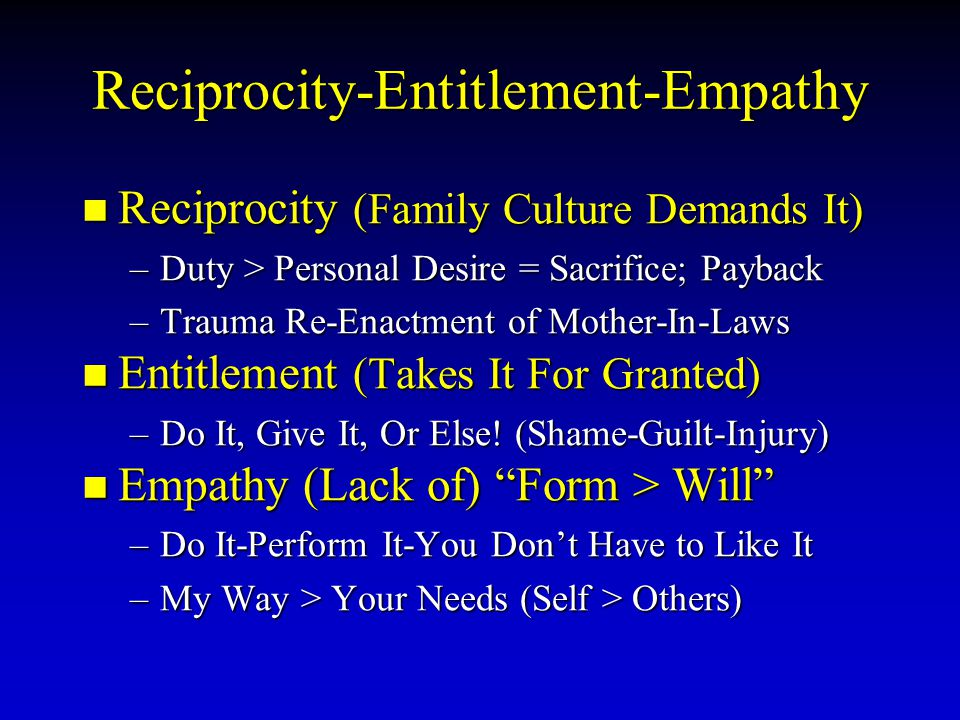 Reciprocity-Entitlement-Empathy