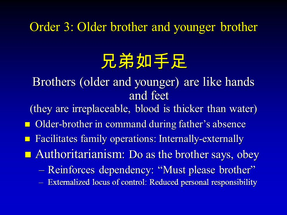 Order 3: Older brother and younger brother