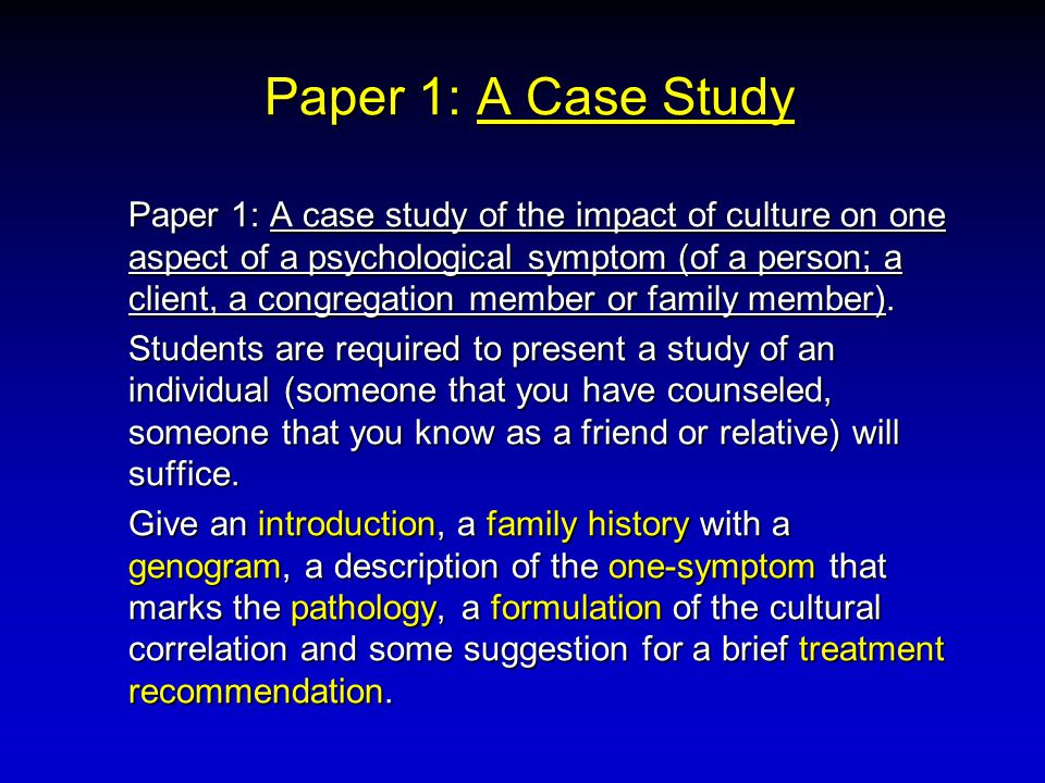 Paper 1: A Case Study