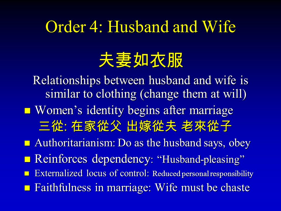 Order 4: Husband and Wife