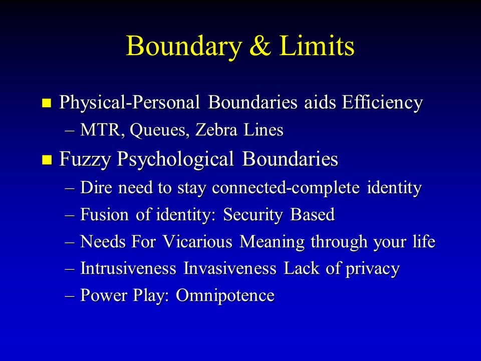 Boundary & Limits Fuzzy Psychological Boundaries
