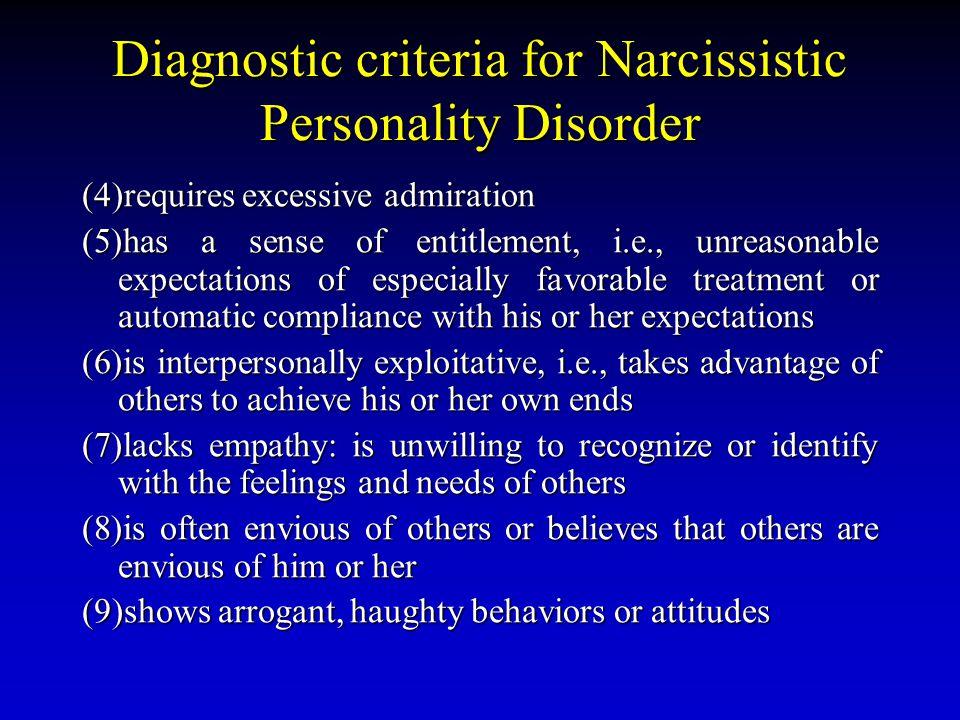 Diagnostic criteria for Narcissistic Personality Disorder