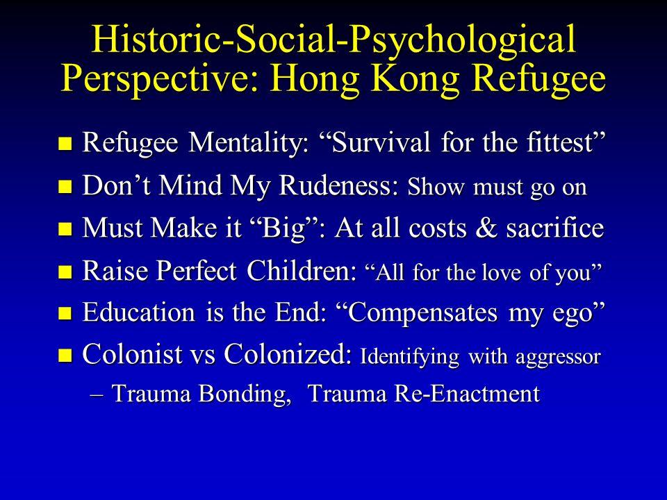 Historic-Social-Psychological Perspective: Hong Kong Refugee