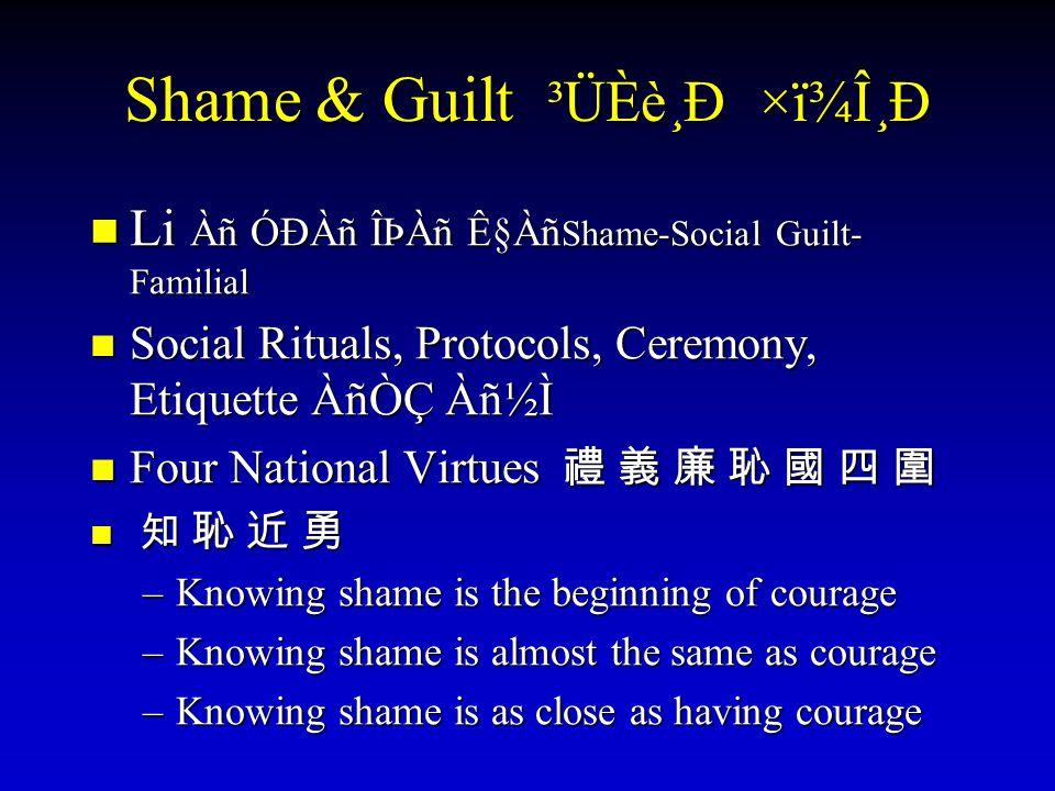 Shame & Guilt ³ÜÈè¸Ð ×ï¾Î¸Ð