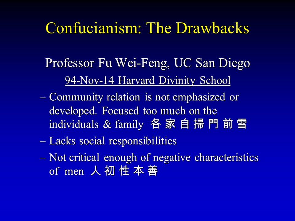 Confucianism: The Drawbacks