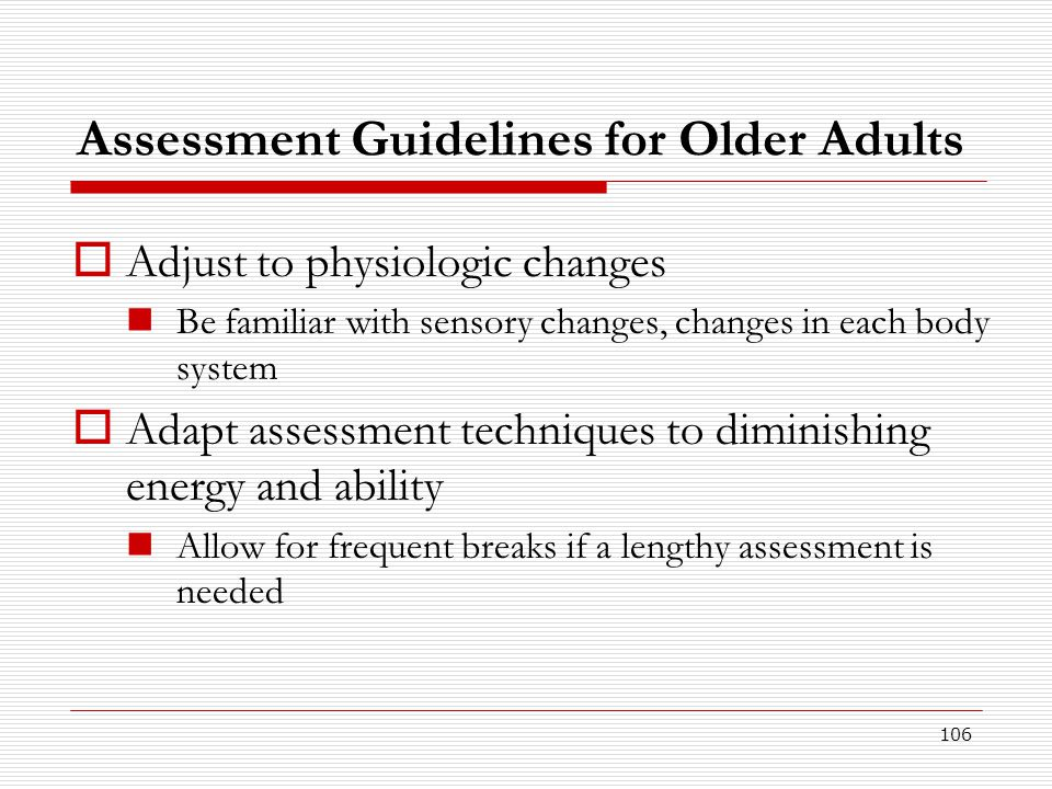 Assessment Guidelines for Older Adults