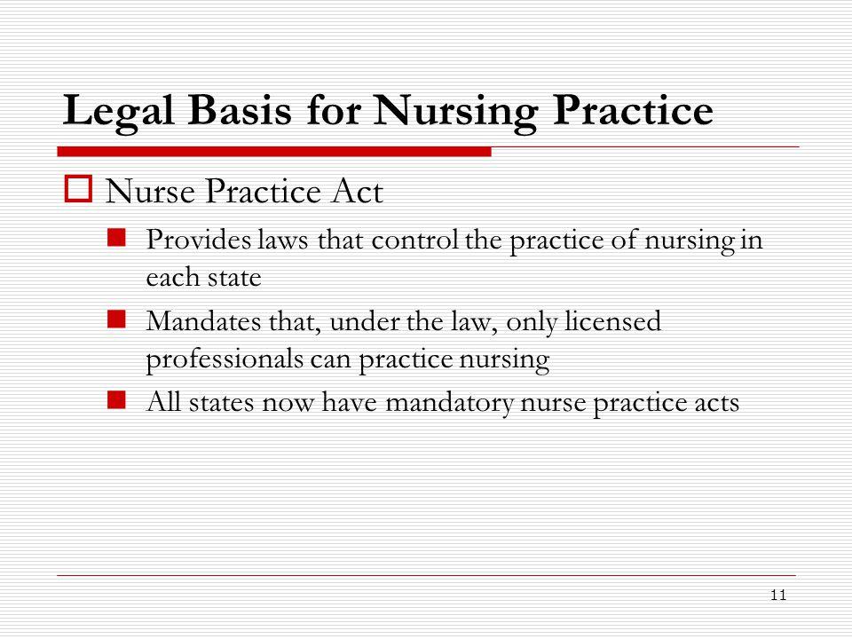 Legal Basis for Nursing Practice