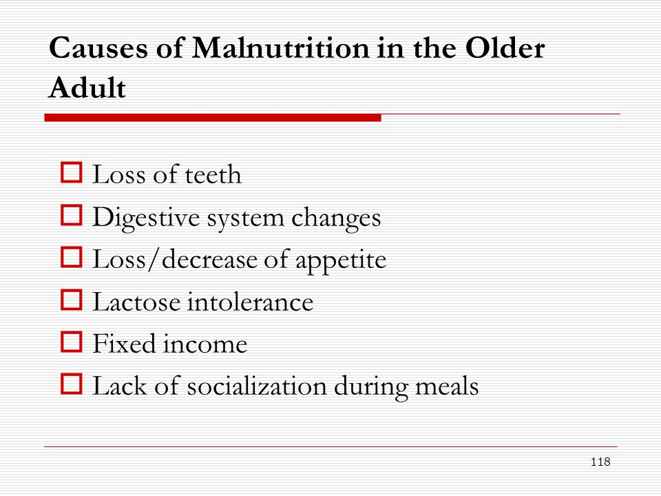 Causes of Malnutrition in the Older Adult