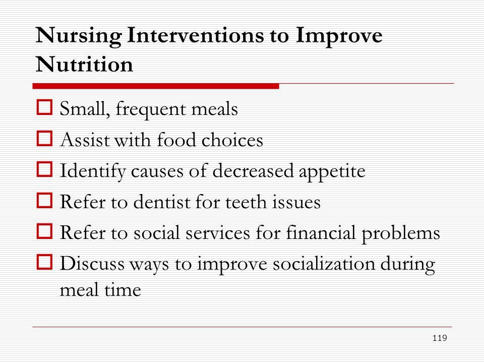 Nursing Interventions to Improve Nutrition