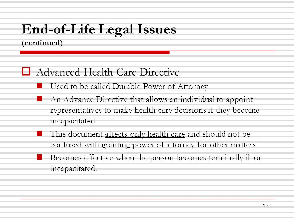 End-of-Life Legal Issues (continued)