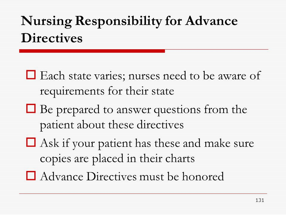 Nursing Responsibility for Advance Directives