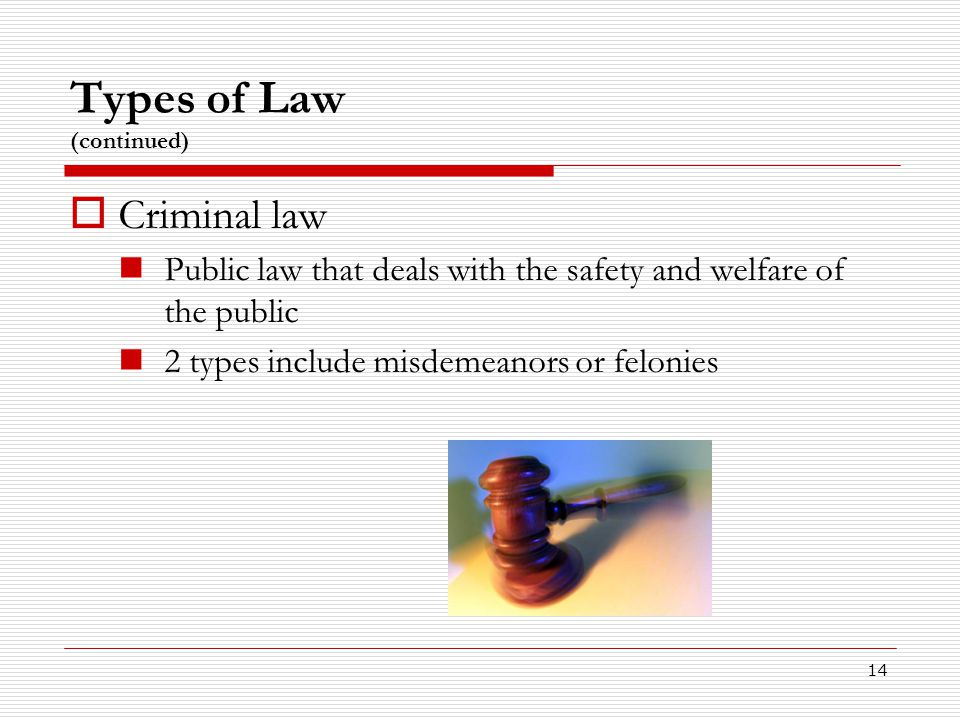 Types of Law (continued)