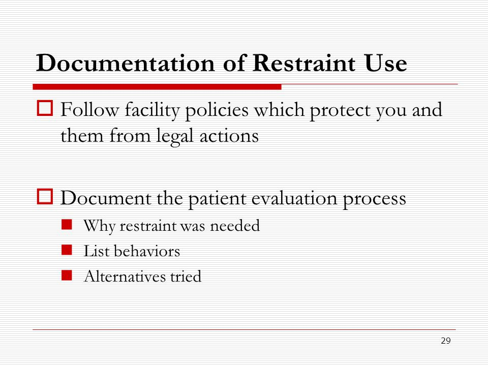 Documentation of Restraint Use