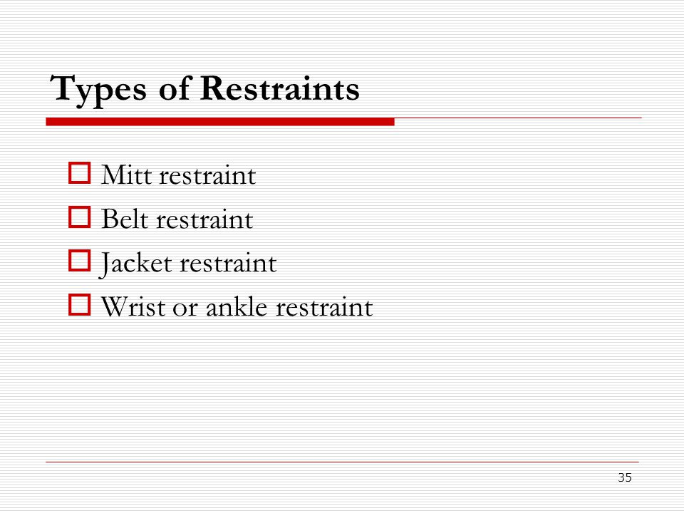 Types of Restraints Mitt restraint Belt restraint Jacket restraint