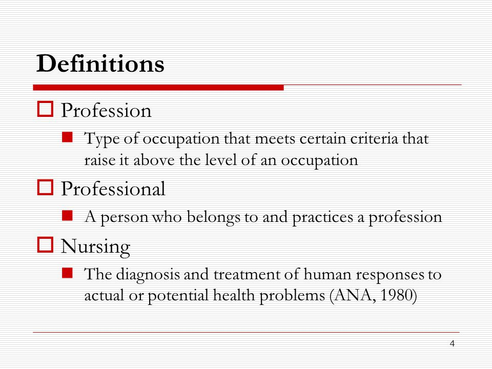 Definitions Profession Professional Nursing
