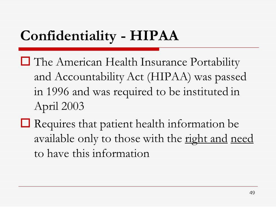 Confidentiality - HIPAA