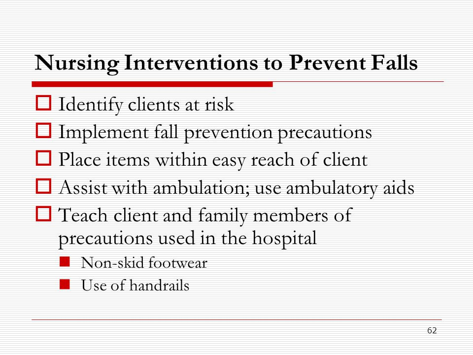 Nursing Interventions to Prevent Falls