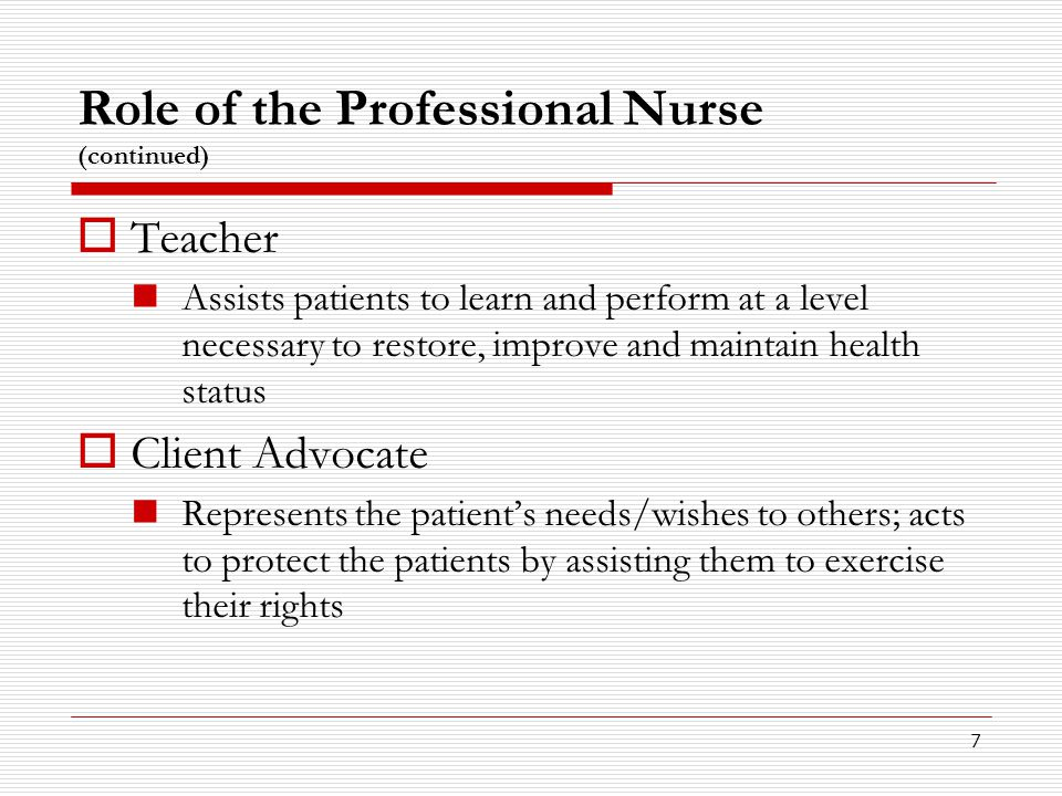 the role of the profesional nurse Their professional role this exploratory study aims to increase understanding of  the professional socialization process that occurs at nursing schools and the.