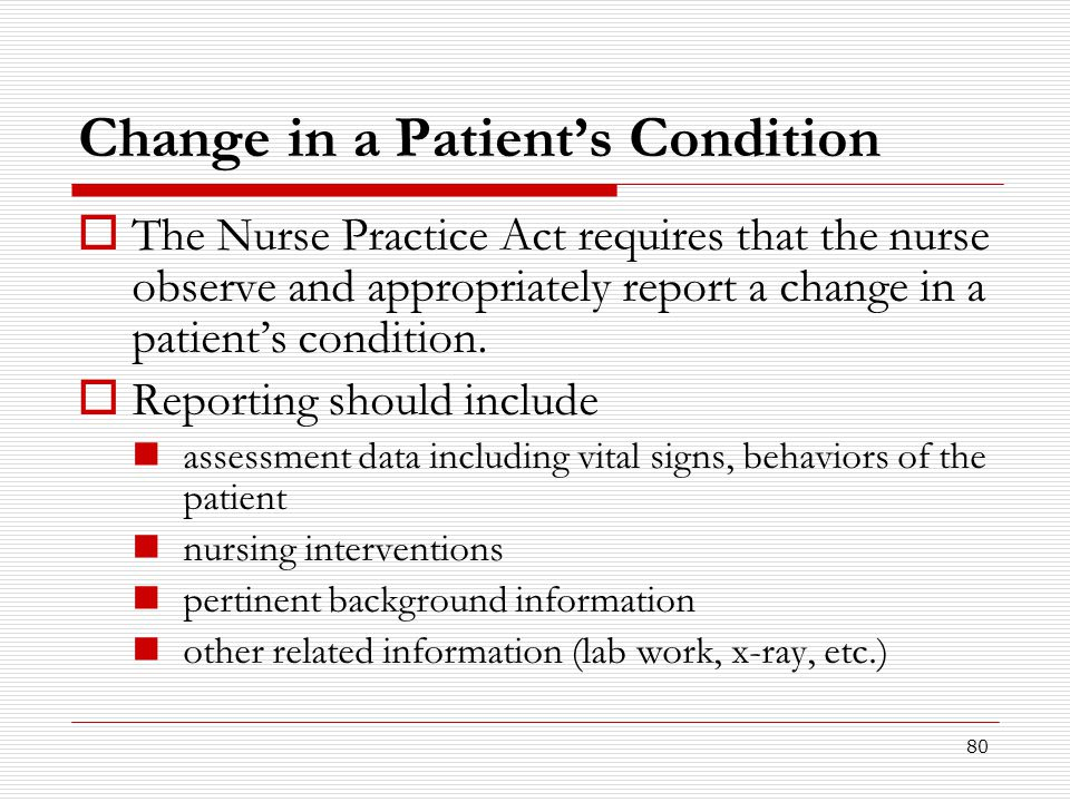 Change in a Patient's Condition