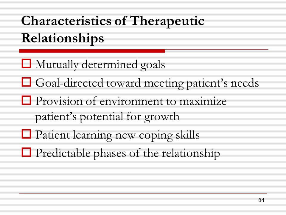 Characteristics of Therapeutic Relationships
