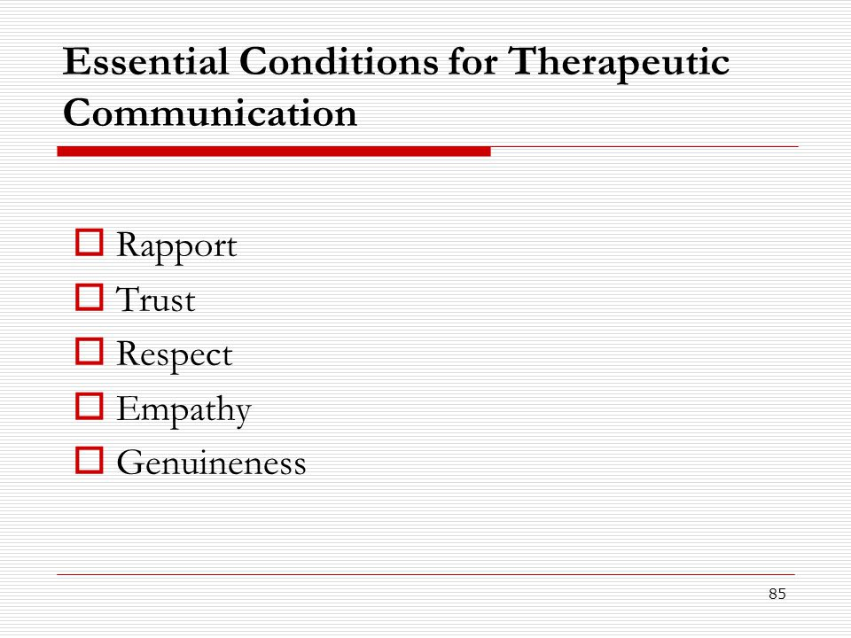 Essential Conditions for Therapeutic Communication