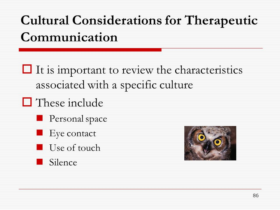 Cultural Considerations for Therapeutic Communication