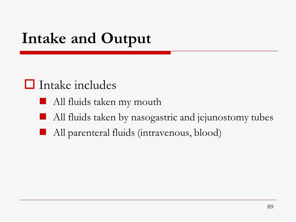 Intake and Output Intake includes All fluids taken my mouth