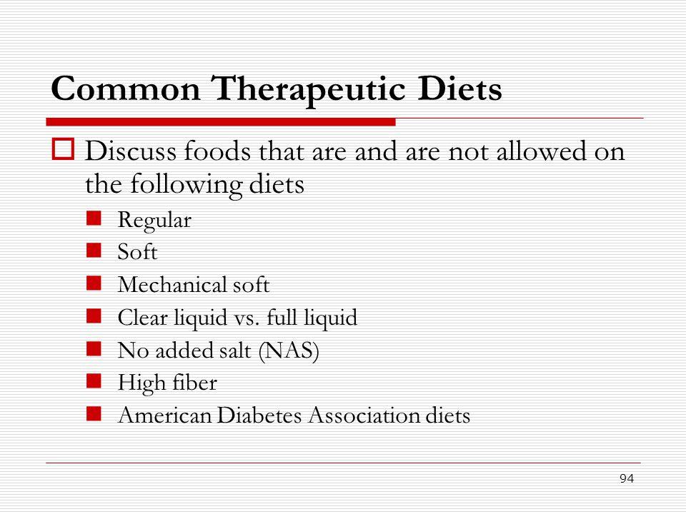 Common Therapeutic Diets