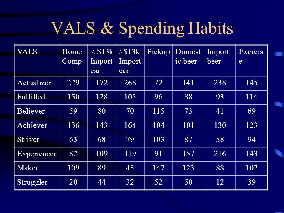 VALS & Spending Habits VALS Home Comp < $13k Import car