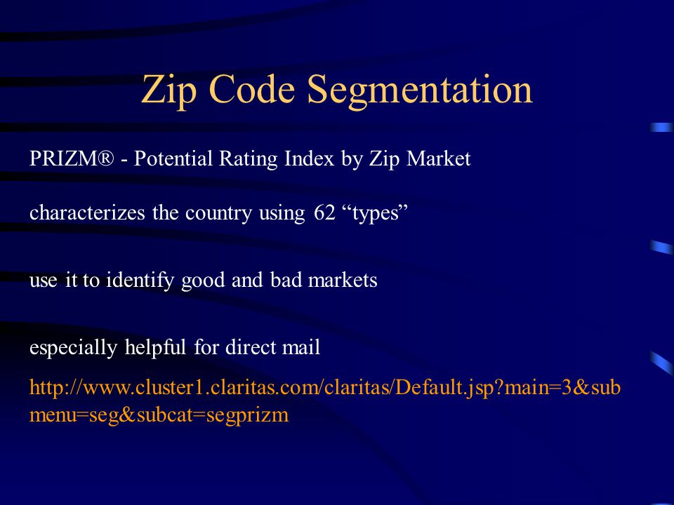 Zip Code Segmentation PRIZM® - Potential Rating Index by Zip Market characterizes the country using 62 types