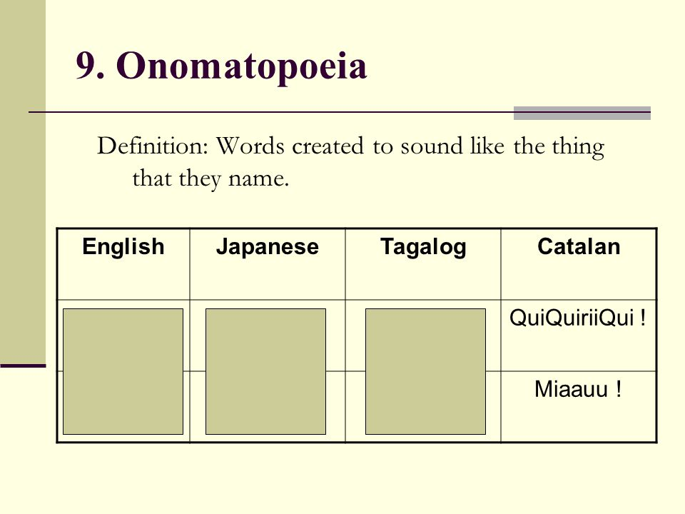 9. Onomatopoeia Definition: Words created to sound like the thing that they name. English. Japanese.