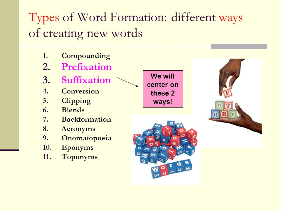 Types of Word Formation: different ways of creating new words
