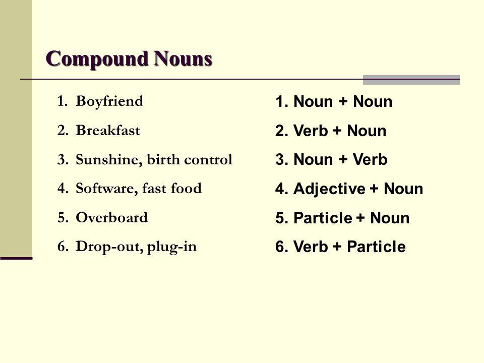 Compound Nouns Boyfriend Breakfast Sunshine, birth control