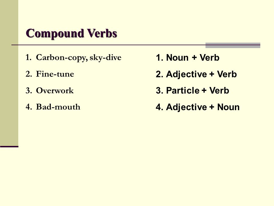 Compound Verbs Carbon-copy, sky-dive Fine-tune Overwork Bad-mouth