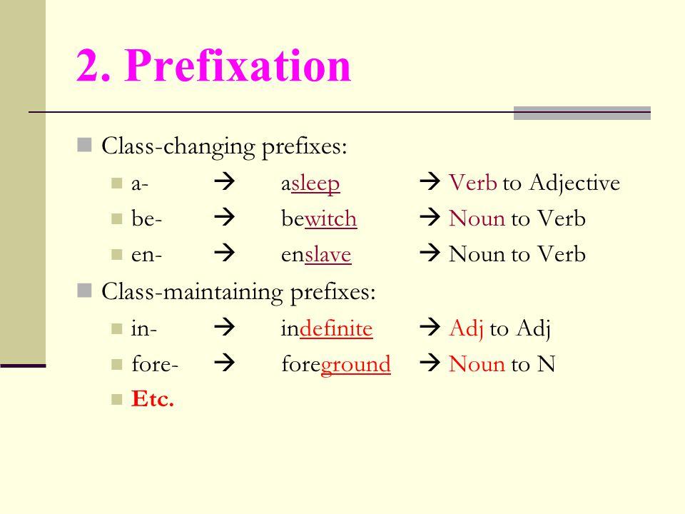 2. Prefixation Class-changing prefixes: Class-maintaining prefixes: