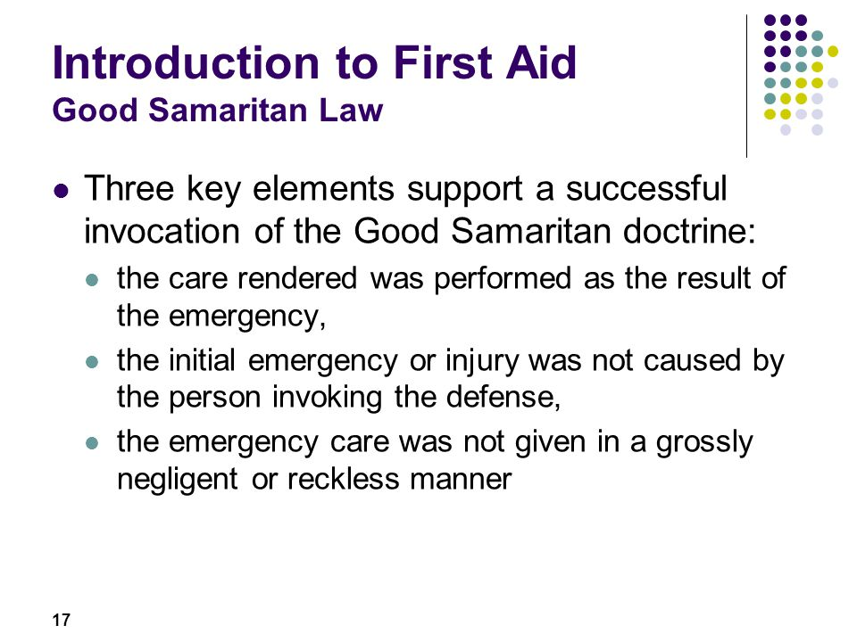 Introduction to First Aid Good Samaritan Law