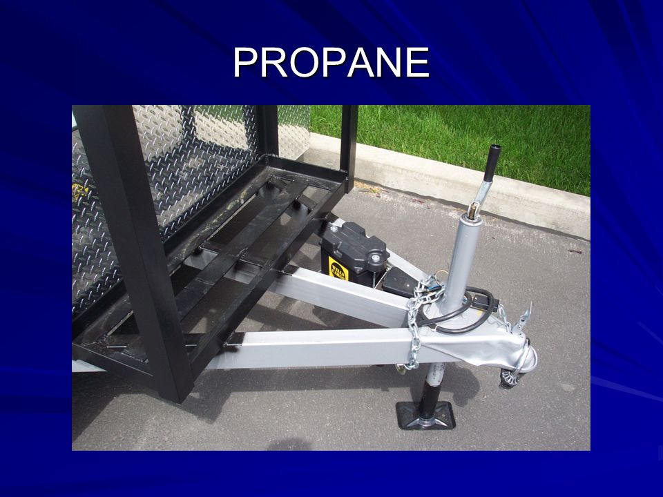 PROPANE This picture shows the proper positioning of the propane tank rack.