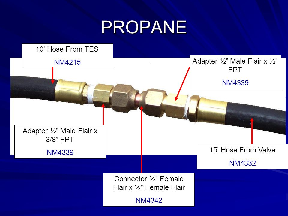 PROPANE 10' Hose From TES NM4215 Adapter ½ Male Flair x ½ FPT NM4339