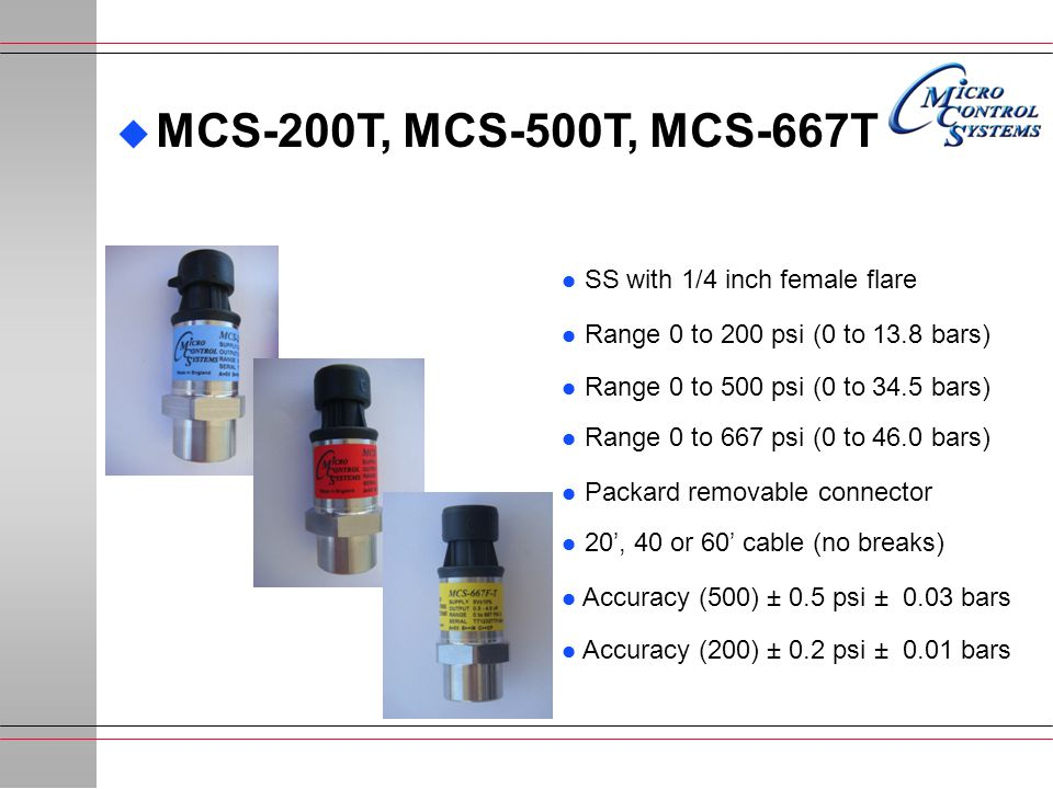 MCS-200T, MCS-500T, MCS-667T SS with 1/4 inch female flare