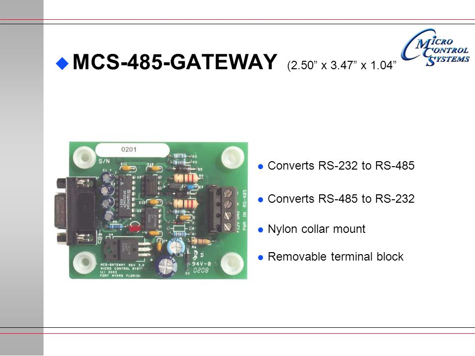 MCS-485-GATEWAY (2.50 x 3.47 x 1.04 Converts RS-232 to RS-485