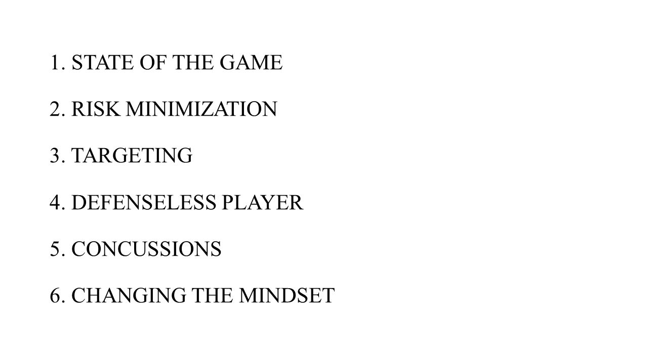1. STATE OF THE GAME 2. RISK MINIMIZATION 3. TARGETING 4