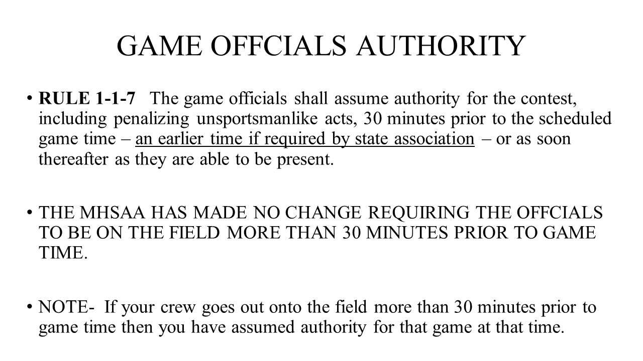 GAME OFFCIALS AUTHORITY